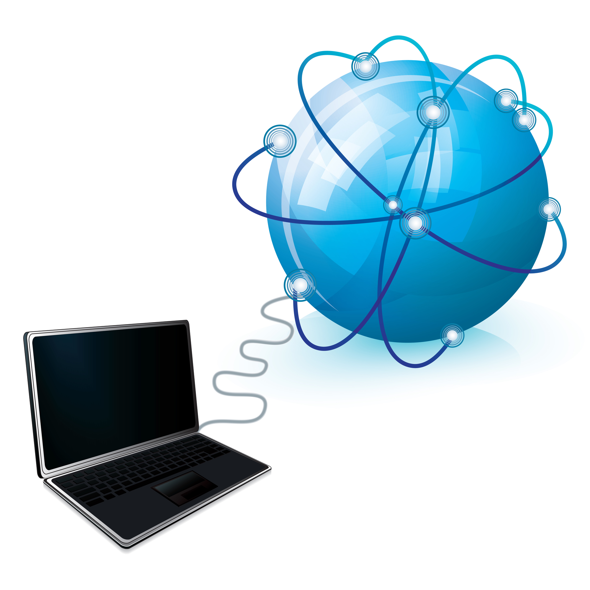 Internet connection with blue globe and laptop, vector illustration